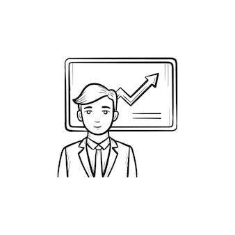 ビジネスインフォグラフィック手描きアウトライン落書きベクトルアイコン。白い背景で隔離の印刷物、ウェブ、モバイル、インフォグラフィックの会議スピーカースケッチイラスト。