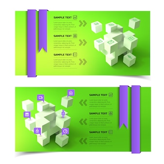 Business infographic horizontal banners with 3d cubes