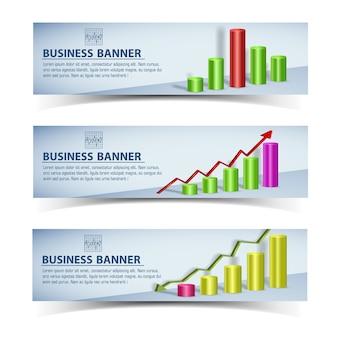 Insegne orizzontali infografiche di affari con grafico grafico colorato e frecce isolate