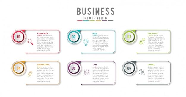 ビジネスインフォグラフィックアイコン6デザインプレミアム