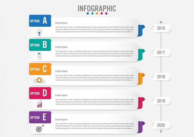 5つのオプションを持つビジネスインフォグラフィックラベルテンプレート