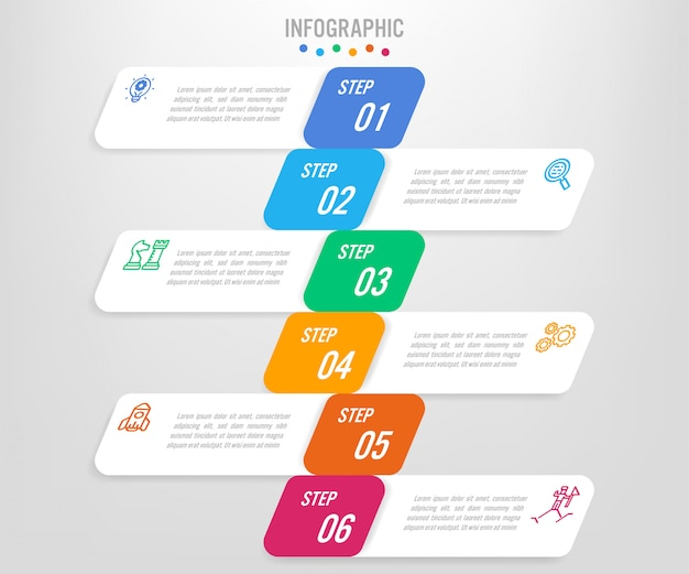 Business infographic labels template with options