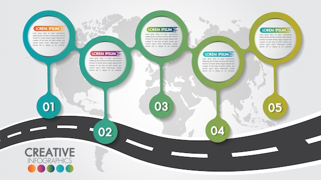 Business infographic navigation map road design template with 5 steps or options and 5 numbers