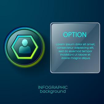 Шаблон бизнес-инфографики с кнопкой со значком шестиугольника