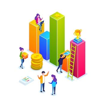 ビジネスインフォグラフィックまたは成長グラフ