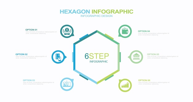 Business infographic organization chart with 6 options hexagons vector template editable line s