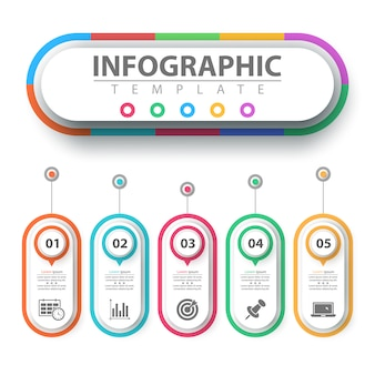 Business infographic. paper origami template