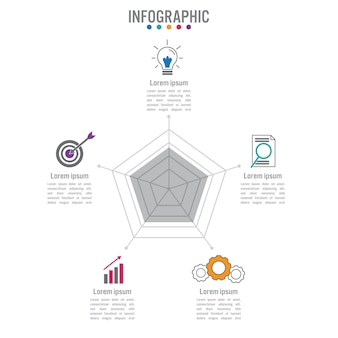 Business infographic polygonal shape template