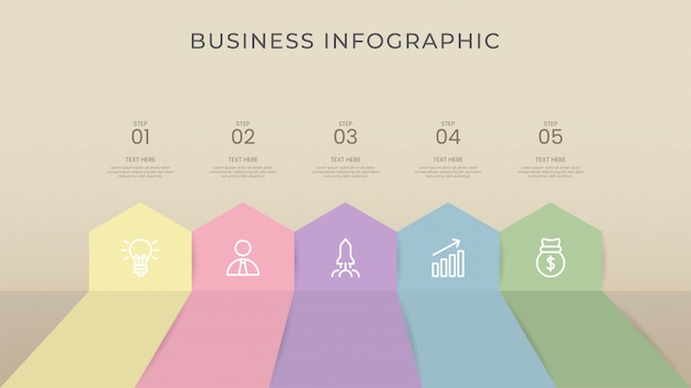 Business infographic process retro color, flat color, include icon.