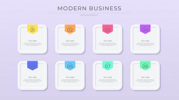 Business infographic process vibrant color with paper cut effect, button effect, modern and clean style.
