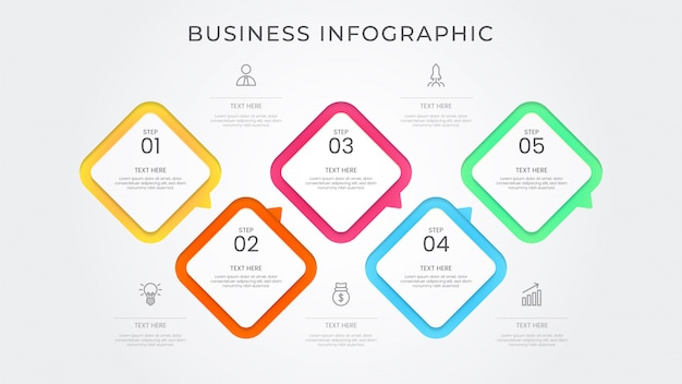 Business infographic process vibrant color