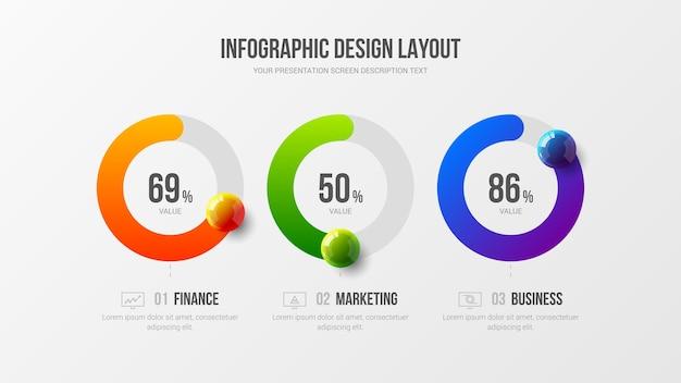 Бизнес инфографики радиальный бар дизайн макет презентации красочные шары иллюстрации