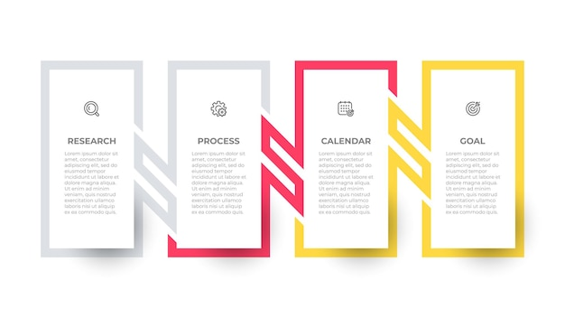 Business infographic rectangle template design with icons and process lines connection