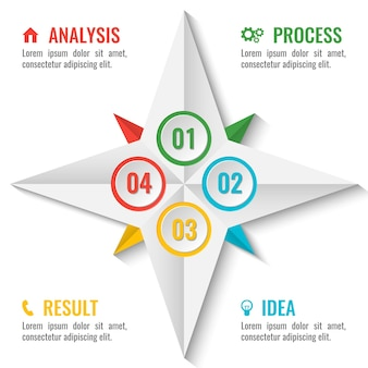 Business infographic scheme in star shape with numbers inside and four steps around with colorful titles and text vector illustration