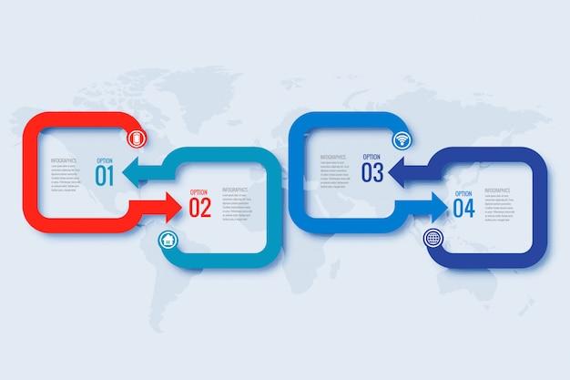 手順のデザインのビジネスインフォグラフィックセット
