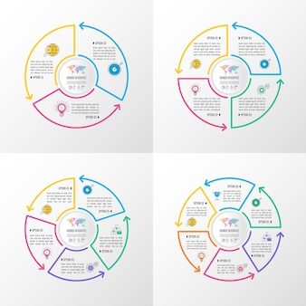 Business infographic set with 3, 4, 5 and 6 options