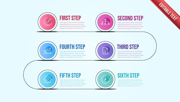 Business infographic six steps. colorful modern timeline infographic template.