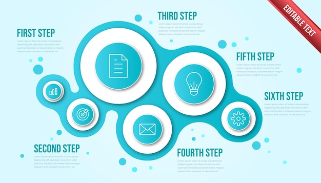 Business infographic six steps. modern bubble timeline infographic template with tosca or blue color theme.