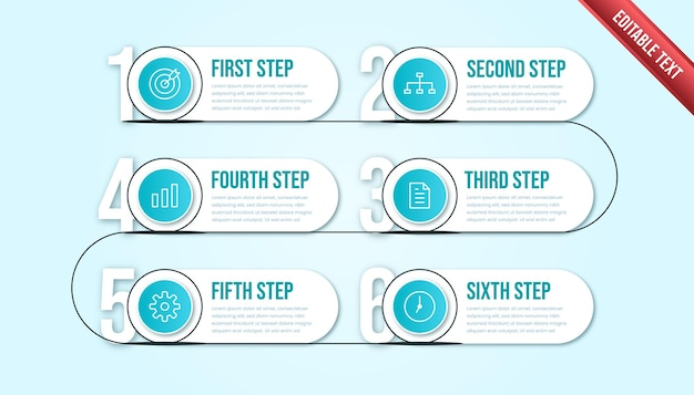 Business infographic six steps. modern timeline infographic template with tosca or blue color theme.