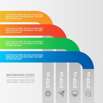Business infographic steps in gradient