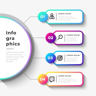 Business infographic steps with big semicircle