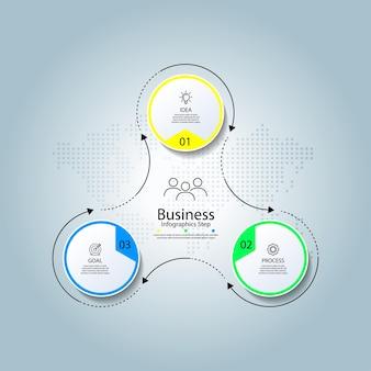 3つのステップでカラフルなビジネスインフォグラフィックテンプレートサークル