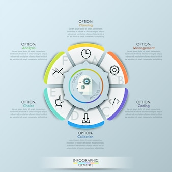 Business infographic template circle origami style vector illustration
