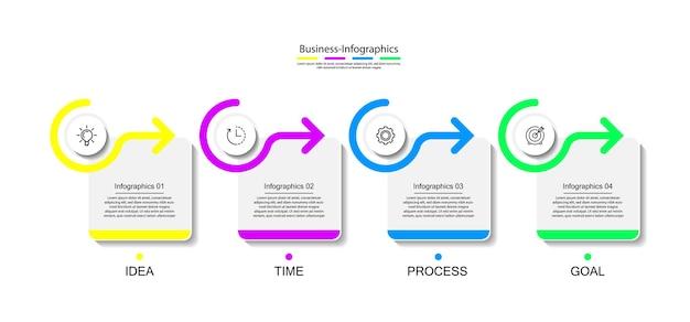 4つのステップでカラフルなビジネスインフォグラフィックテンプレート