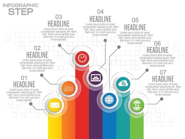 비즈니스 인포 그래픽 템플릿. 데이터 시각화. 워크 플로 레이아웃, 옵션 수, 단계, 다이어그램, 그래프, 프레젠테이션, 차트 및 웹 디자인에 사용할 수 있습니다. 프리미엄 벡터