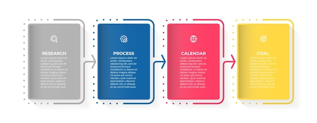 Дизайн бизнес-инфографики с иконками и 4 вариантами