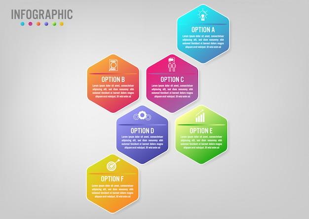 Business infographic template hexagonal shape