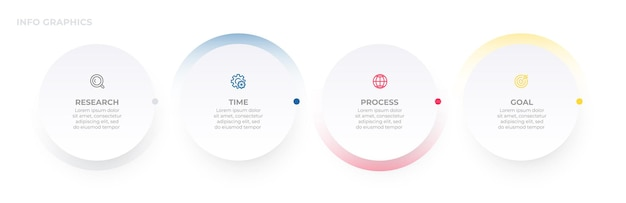 Business infographic template label design with circles and icons timeline process with 4 options