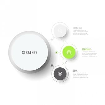 Бизнес инфографики шаблон. современная схема технологического процесса с тонкими линейными элементами и 3 вариантами или шагами.