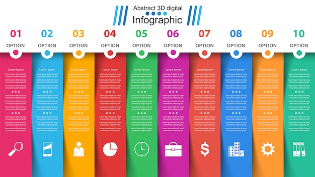 Business infographic template. ten items.