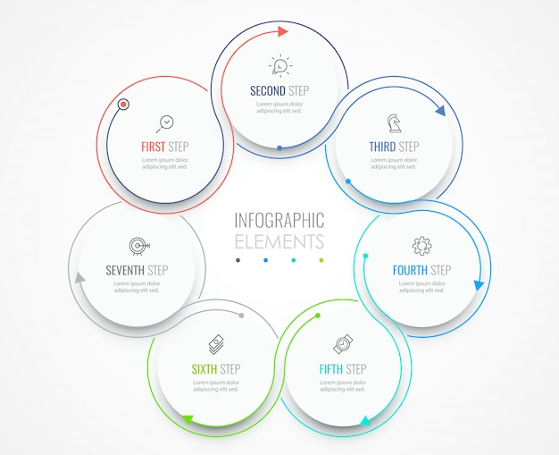 Business infographic template. thin line design with icons and 7 options or steps.