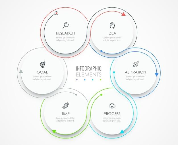비즈니스 인포 그래픽 템플릿입니다. 아이콘과 6 가지 옵션 또는 단계가있는 얇은 선 디자인.