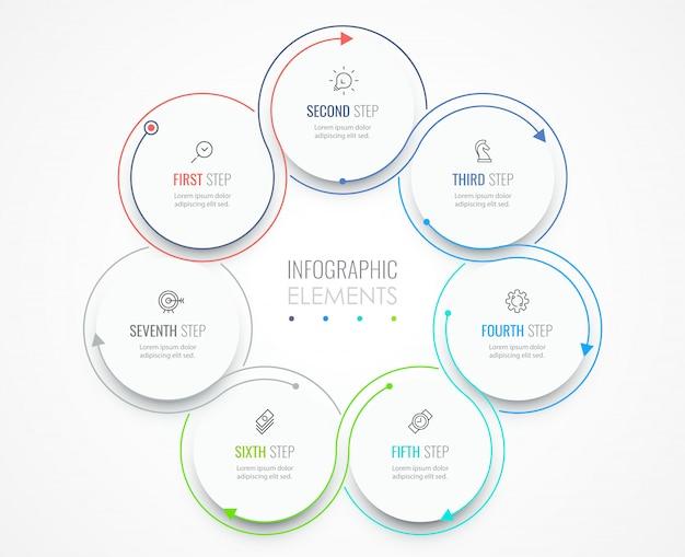 비즈니스 인포 그래픽 템플릿입니다. 아이콘과 7 가지 옵션 또는 단계가있는 얇은 선 디자인.