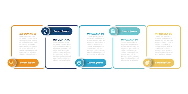 Business infographic template. thin line design with label and 5 steps, options, squares. vector element.