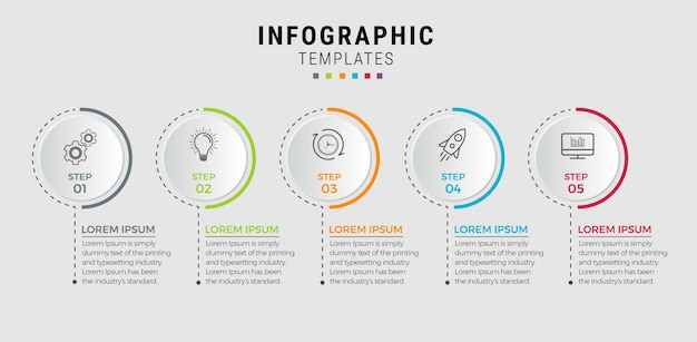 Business infographic template. thin line design with numbers 5 options or steps.