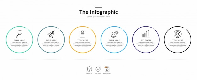 Business infographic template, thin line and flat design with 6 option or step