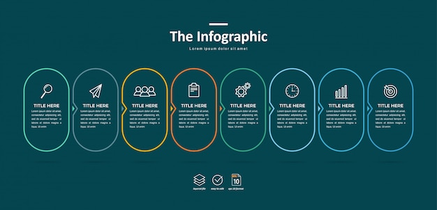 Business infographic template, thin line and flat design with 8 option or step