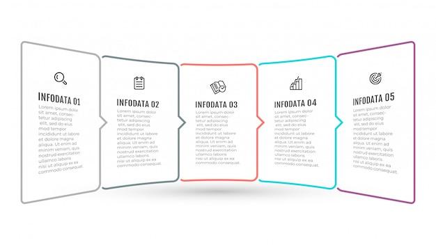 ビジネスインフォグラフィックテンプレート。アイコンと5つのオプション、手順、ラベルの付いたタイムラインデザイン。