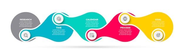 Элемент временной шкалы шаблона бизнес-инфографики с маркетинговыми значками и 5 вариантами или шагами