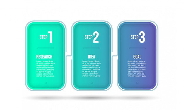 Business infographic template. timeline processes with 3 options or steps.