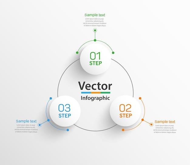 Шаблон бизнес-инфографики с 3 шагами или вариантами
