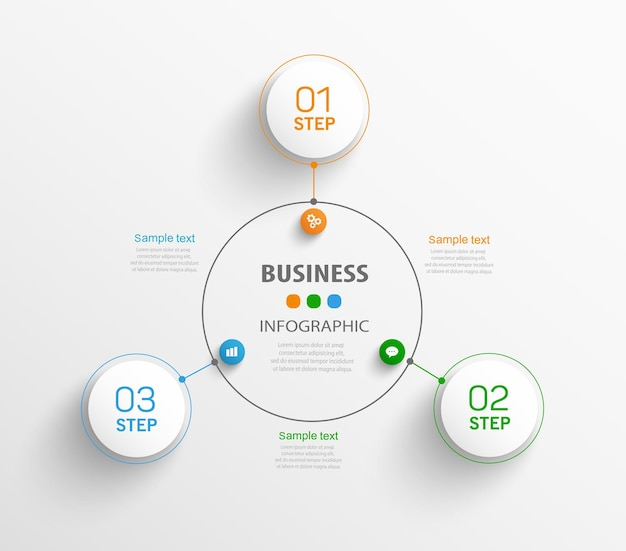 3 단계 또는 옵션이있는 비즈니스 인포 그래픽 템플릿