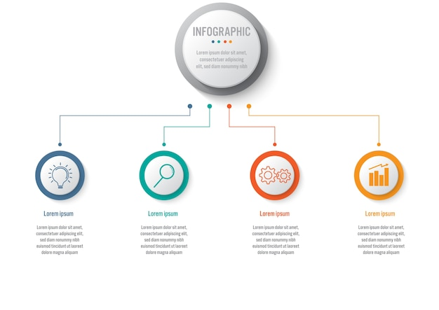 Business infographic template with 4 options circular shape