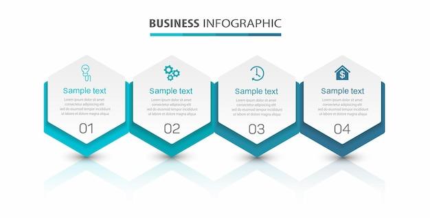4가지 옵션 또는 단계가 있는 비즈니스 인포그래픽 템플릿