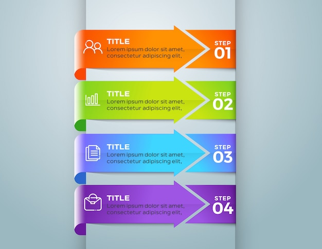 Business infographic template with 4 options step