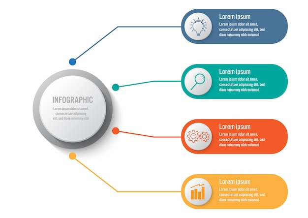 Business infographic template with 4 options